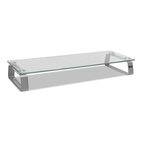 "Universal Glass-top Monitor Riser, 22"" X 8"" X 3"", Clear, Supports 3.9 Lbs"