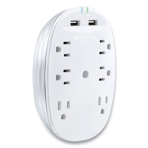 Studio 2.4 Surge Protector With Usb, 6 Ac Outlets, 2 Usb Ports, 900 J, White-pearl