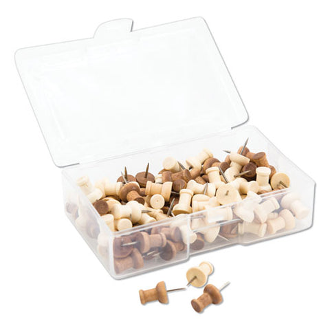 "Fashion Push Pins, Wood, Assorted, 3-8"", 100-pack"