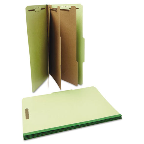 Eight-section Pressboard Classification Folders, 3 Dividers, Legal Size, Green, 10-box