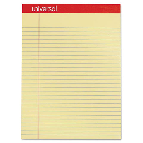 Perforated Writing Pads, Wide-legal Rule, 8.5 X 11.75, Canary, 50 Sheets, Dozen