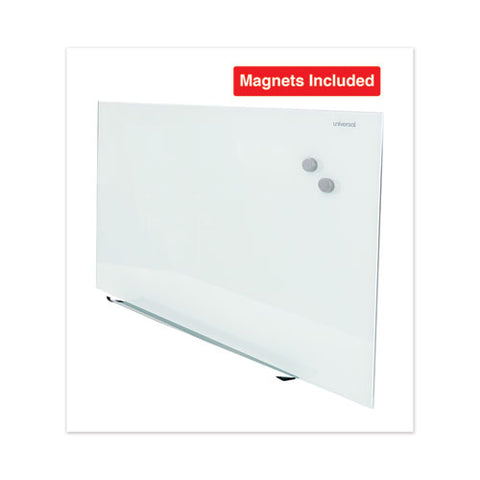 "Frameless Magnetic Glass Marker Board, 48"" X 36"", White"