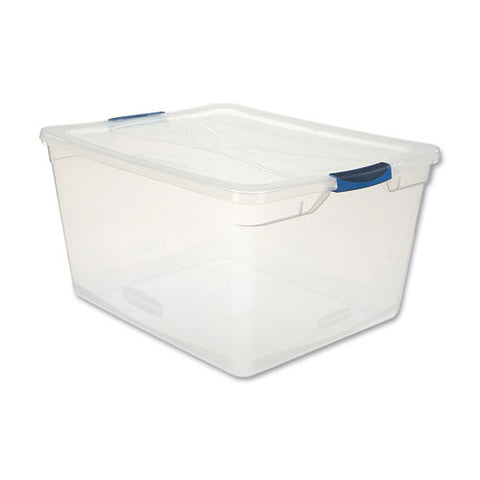"Clever Store Basic Latch-lid Container, 71 Qt, 18.63"" X 23.5"" X 12.25"", Clear"