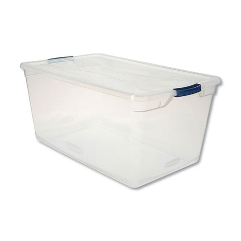 "Clever Store Basic Latch-lid Container, 95 Qt, 17.75"" X 29"" X 13.25"", Clear"