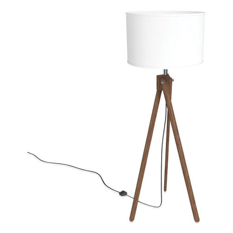 "Essentials Wood Floor Lamp With Drum Shade, 57.5"" H, Espesso-white"