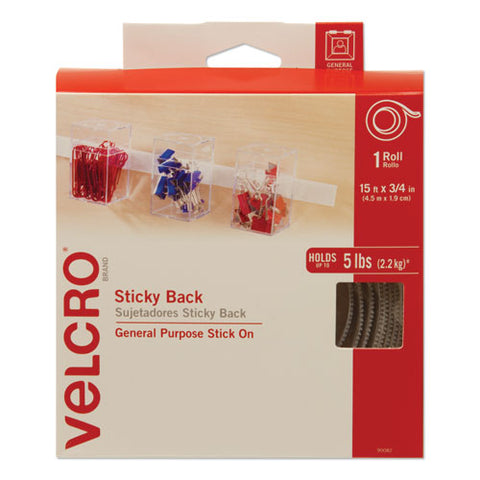 "Sticky-back Fasteners With Dispenser, Removable Adhesive, 0.75"" X 15 Ft, White"