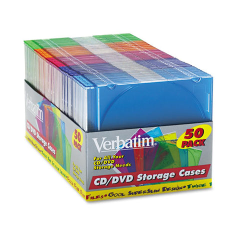 Cd-dvd Slim Case, Assorted Colors, 50-pack