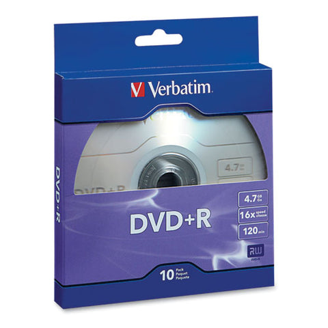 Dvd+r Recordable Disc, 4.7gb, 16x, Silver, 10-pack