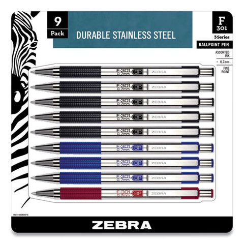 F-301 Retractable Ballpoint Pen, 0.7 Mm, Assorted Ink, Assorted Barrel, 9-pack