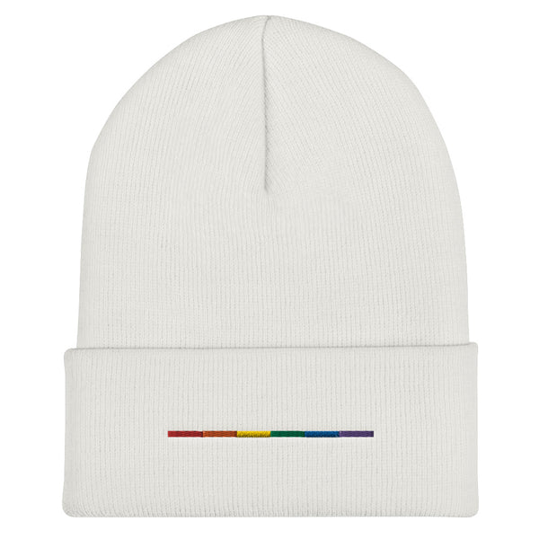 Rainbow Bar Embroidered Cuffed Beanie