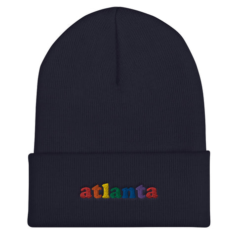 atlanta rainbow Embroidered Cuffed Beanie