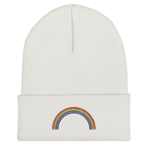 Embroidered Rainbow Cuffed Beanie