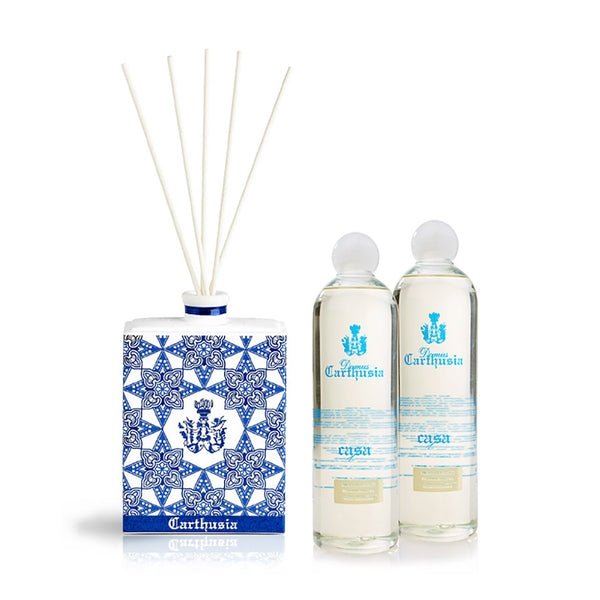 Hand Painted Ceramic Diffuser and Bottle - Mediterraneo