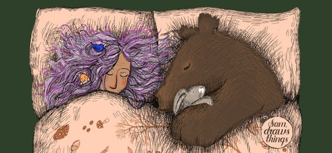 Cosy witch's bed illustration