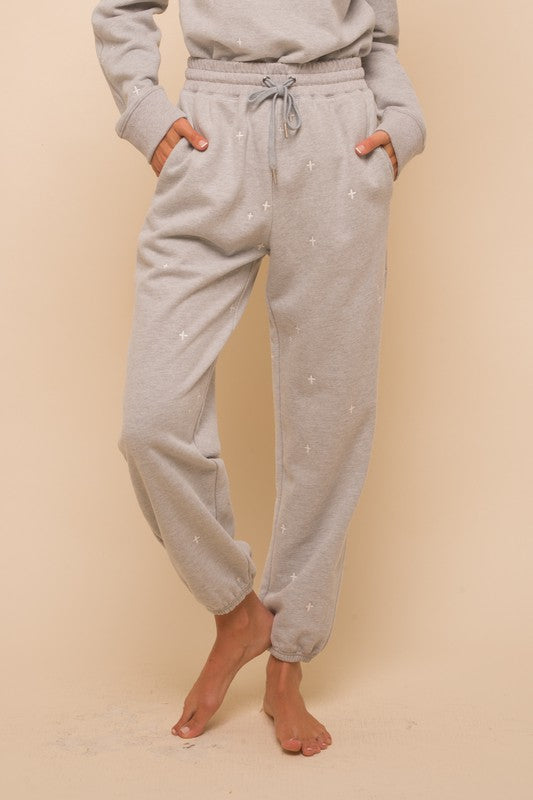 Janet Embroidered Cross Sweatpants