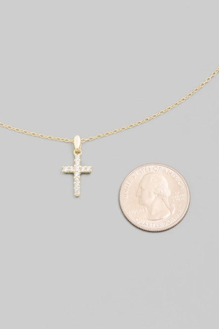 Pave Cross Pendant Necklace
