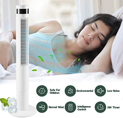 "AGLUCKY 43"" Tower Fan with Oscillation, Remote Control and LED Display, 3 Powerful Wind Modes, Up to 12 H Timer Bladeless Standing Fan, Portable Fan for Children, Home, Dormitory or Office (White)"