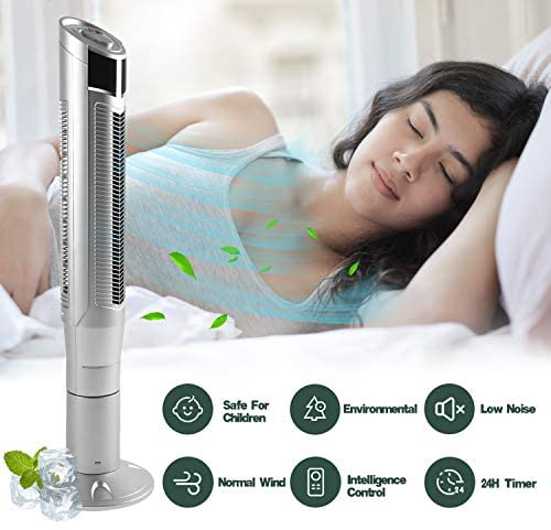 "AGLUCKY 47"" Tower Fan with Oscillation, Remote Control and LED Display, 3 Powerful Wind Modes, Up to 24 H Timer Bladeless Standing Fan, Portable Fan for Children, Home, Dormitory or Office (Silver)"