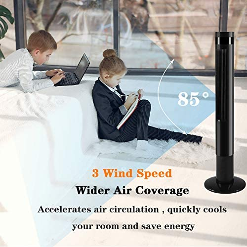 "AGLUCKY 43"" Tower Fan with Oscillation, Remote Control . 3 Powerful Wind Modes, Up to 12 H Timer Bladeless Standing Fan, (Black)"