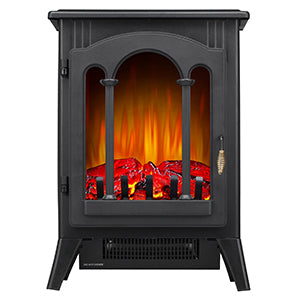 "R.W.FLAME Infrared Electric Fireplace Stove, 16"" Freestanding Fireplace Heater, Realistic Flame Effects, Adjustable Brightness and Heating Mode, Overheating Safe Design, 1000W/1500W, Black"