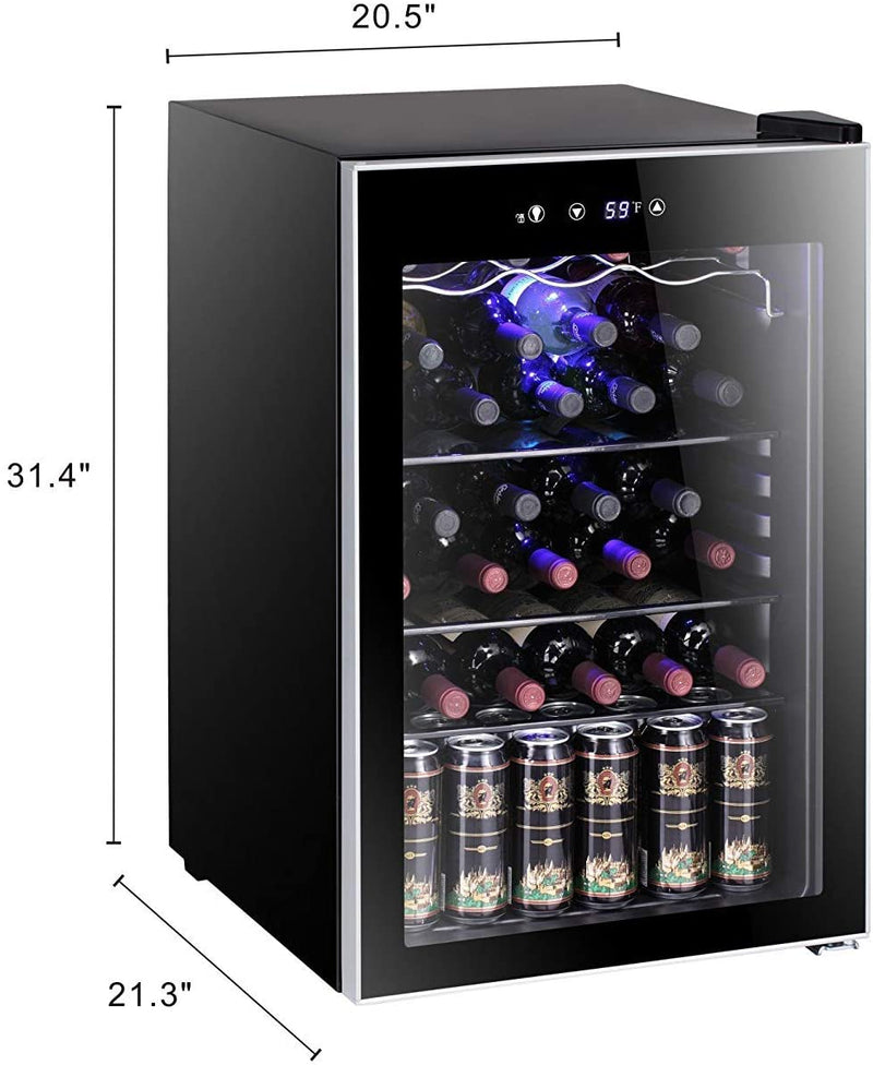 Antarctic Star 36 Bottle Wine Cooler/Cabinet BeverageRefrigerator Small Mini Red & White Wine Cellar Beer Soda Counter Top Bar Fridge Quiet Operation Compressor Adjust Temperature Freestanding Black 不确定