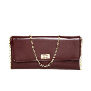 Brown Solid Clutch