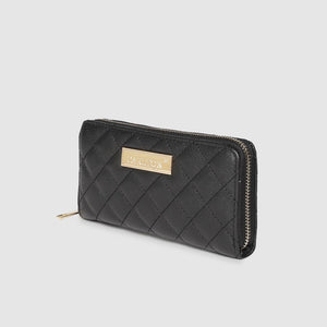 Women Black Quilted Zip Around Wallet