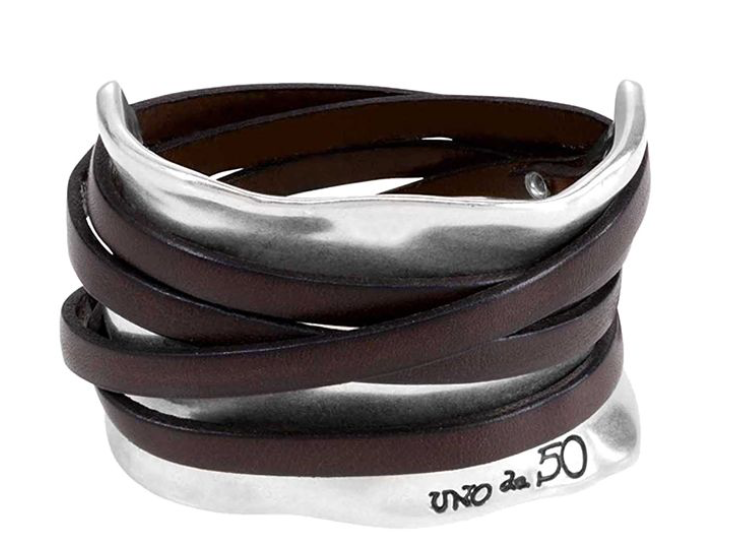 Uno de 50 Ibiza Bracelet Leather Bands w/ Metal Cuff