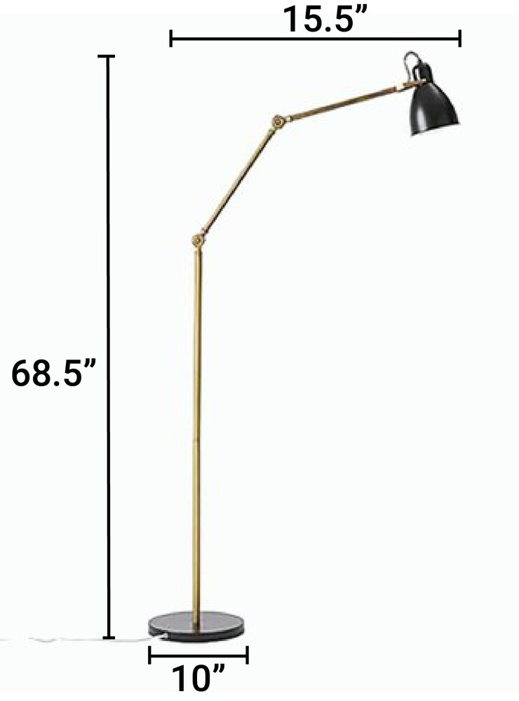 West Elm CFL Industrial Task Floor Lamp Black & Antique Brass