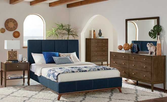 Charity Upholstered Queen Bed Blue