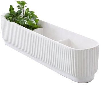 West Elm Fluted Windowsill Planter White