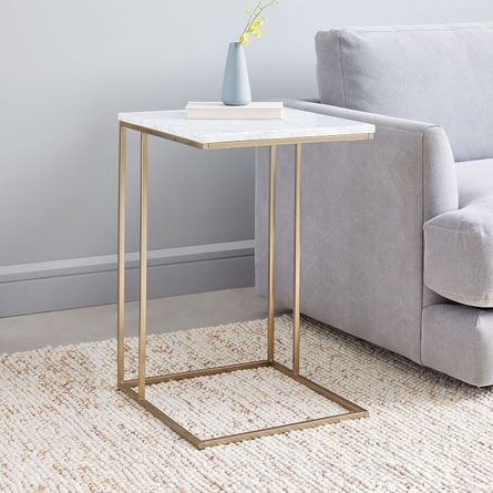 West Elm Streamline C-Side Table White And Light Bronze
