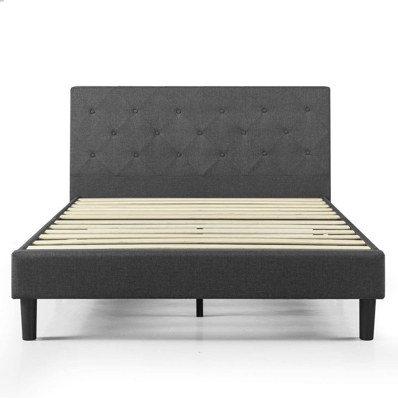 Sidu Upholstered Platform Queen Bed Dark Gray
