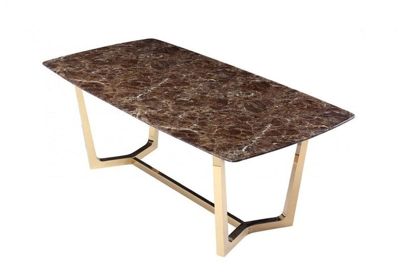 Modrest Garrett Faux Marble Dining Table Brown And Gold