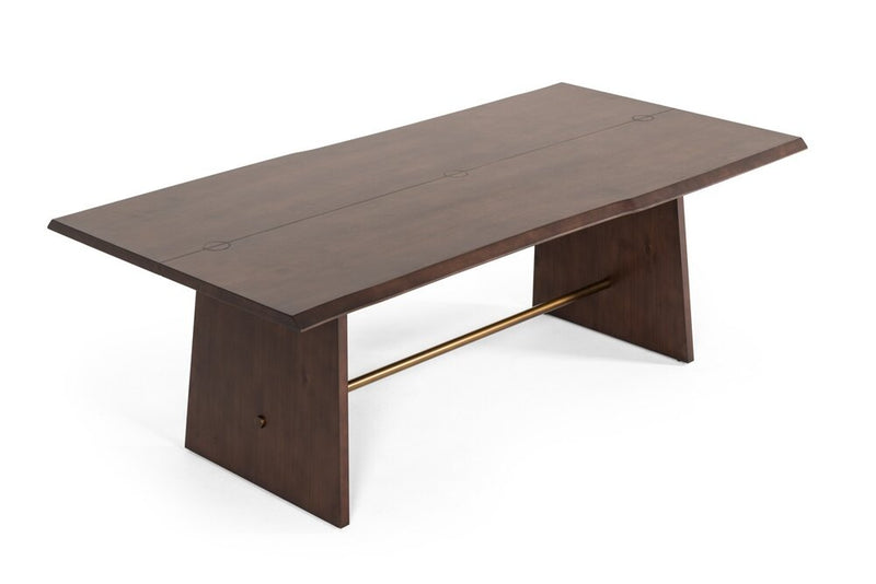 Modrest Selena Modern Dining Table Acacia & Brass