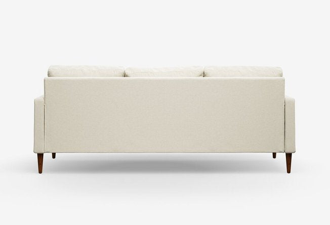 Campaign Modern Sofa Almond White With Matte Mahogany