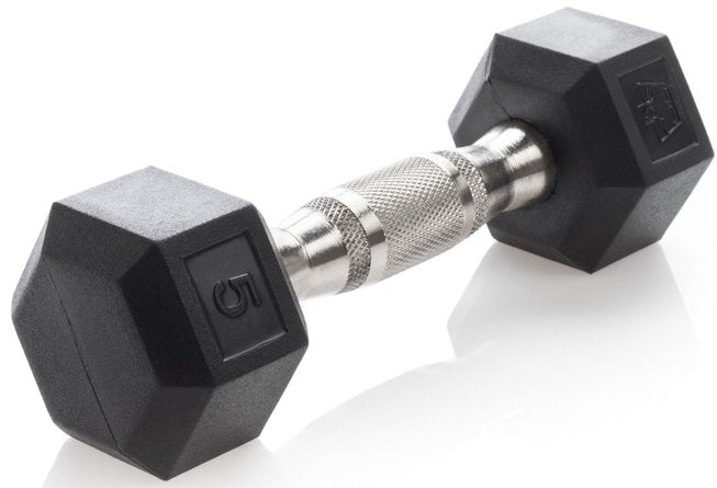 Urethane Dura-Bell 5 lb Dumbbell Black & Chrome (Single Unit)