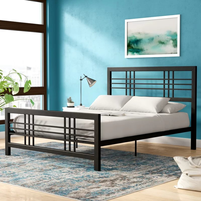 Manona Metal Platform Twin Bed Black