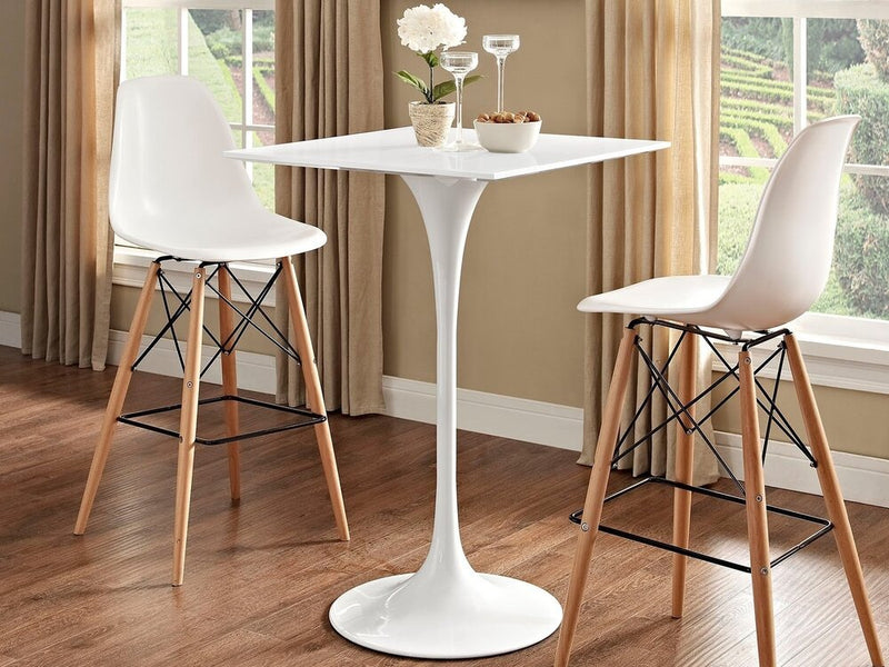 "Lippa 28"" Square Wood Top Bar Table White"