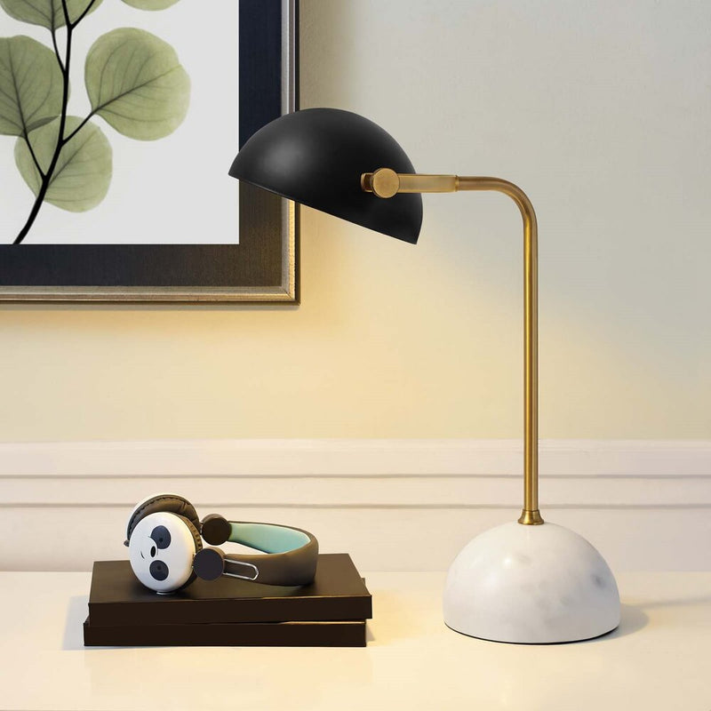 Convey Marble Table Lamp Bronze And White