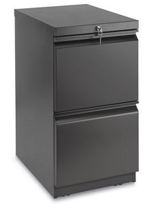 Mobile Pedestal 2 Drawer File Cabinet Black
