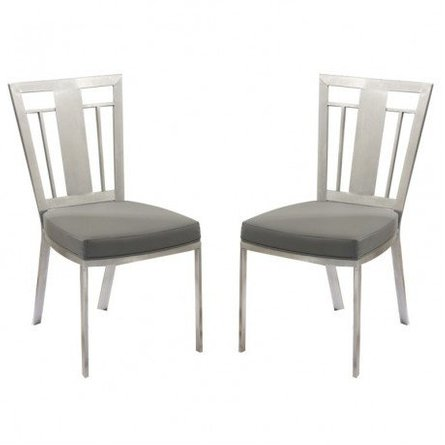 Aube Contemporary Dining Chair Gray (Set of 2)