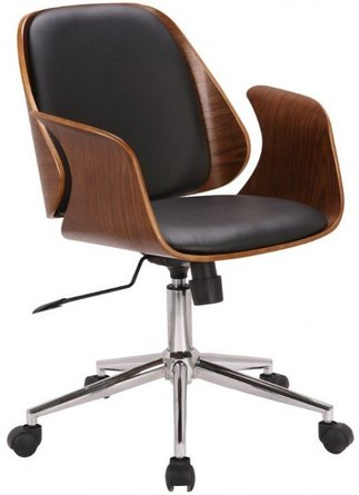 Joyce Mid-Century Office Chair Black Walnut
