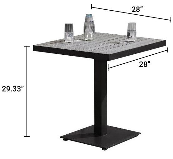 Triangulum Outdoor Patio Dining Table Gray