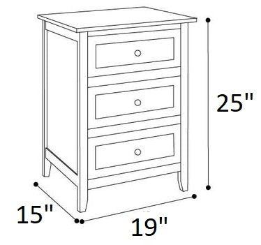 Arlen 3 Drawer Nightstand White