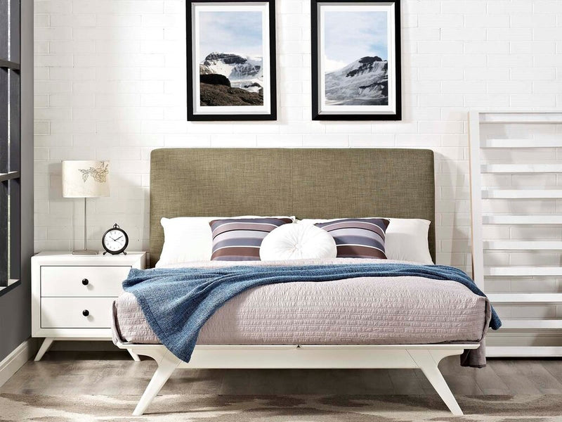 Tracy Queen Bed White And Latte