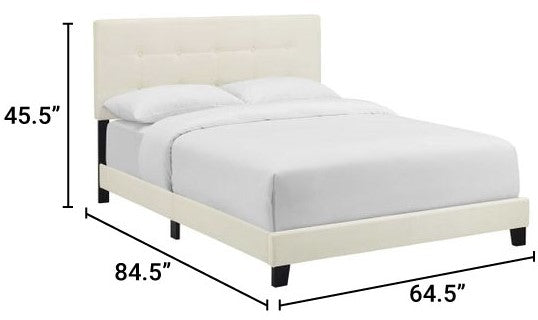 Amira Performance Velvet Queen Bed Ivory