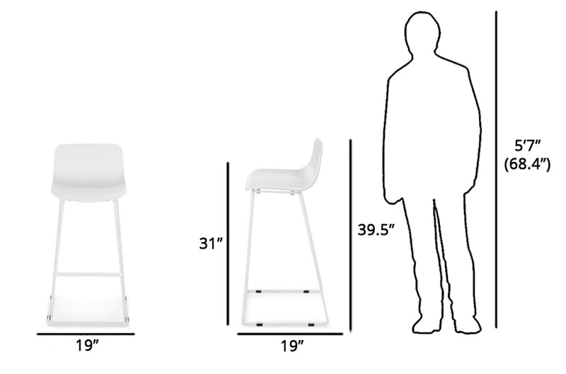Article Anco Modern Bar Stool White