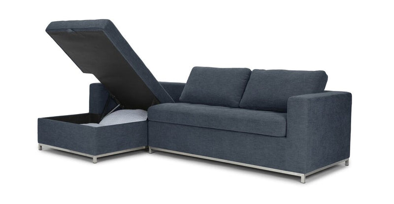 Article Soma Mid-Century Modern Left Sectional Sleeper Sofa Midnight Blue