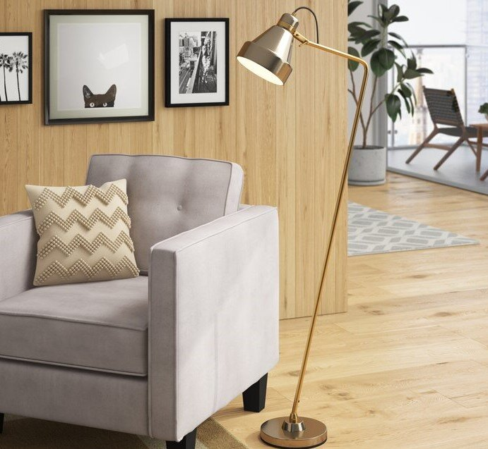 "Horace 58"" Arched Floor Lamp Gray And Nickel"